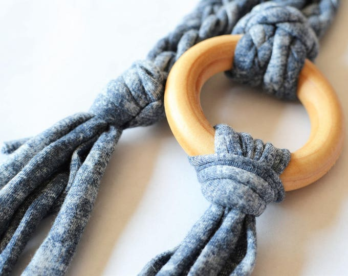 Denim Tug & Pull Teething Tassel Necklace | Macrame Teething Necklace | Denim Macrame Tassel Necklace