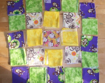"Monkey Fabric Squares 9"" and Scrap Fabric - Monkey Patchwork Quilt Squares- Monkey Baby Blanket Fabric - Monkey Baby Quilt Fabric"