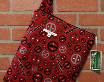Cloth Diaper Wetbag, Deadpool, Diaper Pail Liner, Diaper Bag, Day Care Size, Holds 5 Diapers, Size Medium with Handle item #M59