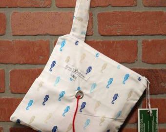 Knitting Bag, Crochet, Knit, Yarn, Wool, Sea Horse, Yarn Storage, Yarn Bag with Hole, Grommet, Handle, SYB111