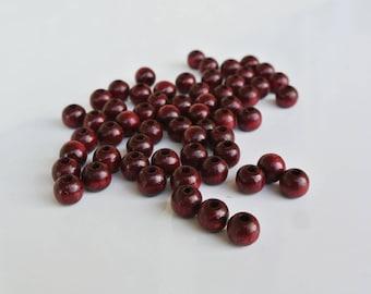 set of 50 wood beads 6mm wine-