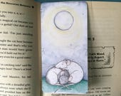 Moonlight Rats Handmade Bookmark, Cuddling Fancy Rats, laminated bookmark with blue ribbon detail, rat gift