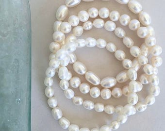 Genuine Freshwater Pearl Stretch Bracelet Sets, 4Pcs