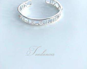 Bangle Bracelet 925 sterling silver simple Roman numbers
