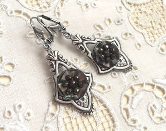 Victorian Antique Button Earrings Steel Cut Beads and Carved Shell Paris, France ca1800