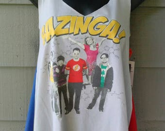 "One of a Kind "" Bazinga "" Flirty Tank / Fits Medium to Large / OOAK / Tee / Altered / Upcycled / Big Bang Theory / Cosplay / Superhero / Tee"