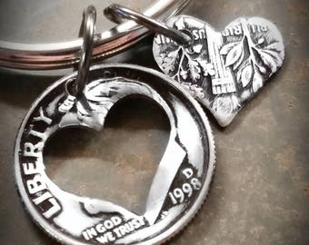 20th 1998 Birthday Dime Heart Key Chain 20th Anniversary 20th Birthday Gift Coin Jewelry made from a 1998 Dime +