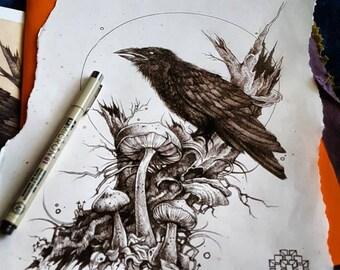 """Raven guardian of death prints 9×12"""""""