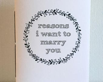 Reasons I Want To Marry You - Vow Book Set - Engagement Gift
