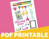 Neon Faith Printable Bible Journaling, Margin Stickers, Bookmarks, Sticker Printable