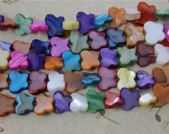 45 pearls multicolor mother of Pearl Butterfly