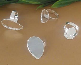 20pcs Ring Setting Blank drop Bezel Adjustable rings