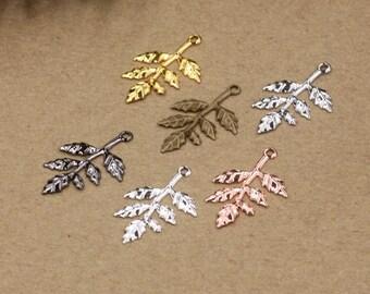 Bulk 100 pcs pendants charms  leaf brass base