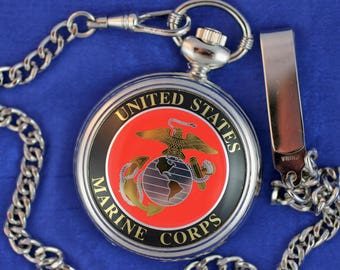 United States Marine Corps Pocket Watch • Quartz • Free Shipping! • Working and Ready for Use