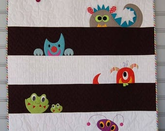 ON SALE Monster Crib Quilt, Monster Bedding, Little Monsters Toddler Bedding, Modern Quilt Monster Bedding Modern Bedding  Homemade Handmade