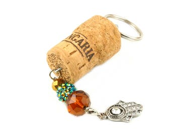 Hamsa charm - Keychain for women - Cork keychain - Champagne cork gifts - Floating keyring - Wine lover gift - Hamsa key chain - Wine gift