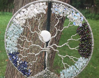 Family tree wall art, Thoughtful wedding gift, Valentine's Day gift, Tree of life decor, Crystal suncatcher, Wire tree-of-life, Mom gift