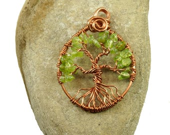Peridot necklace, Sterling silver necklace, August birthstone, Tree-of-life pendant, Peridot jewelry, Copper wire tree-of-life, Gift for mom