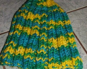 Green and yellow ribbed 2/2 very warm hat for winter