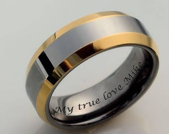 Engraved Tungsten Ring Personalized Rings Two Tone Promise