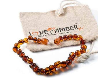 Adult Brandy Snap Cognac Baltic Amber Bracelet