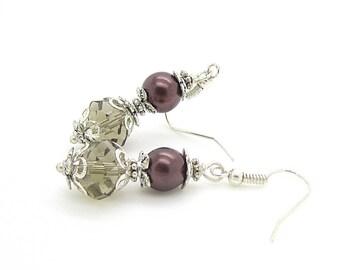 Chocolate Brown Pearl Drop Earrings, Chocolate Bridesmaid Jewellery, Brown Crystal Dangles, Pearl Bridesmaid Sets, Crystal Bridal Jewellery