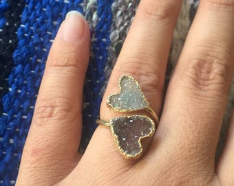 Druzy ring, druzy heart ring, heart ring, gold heart ring, druzy gold ring, adjustable druzy ring