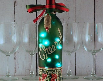 Wine bottle light, hand painted, Cheers, red grapes, wine lover gift, bar decor, kitchen decor, housewarming, hostess gift