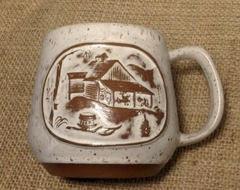 Goss Crafted in Vermont Coffee Cup - Barn - Sleigh - Sled - Maple Syrup - Brown Specks - Very Nice!