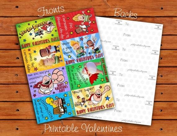 Classroom Valentines Design ~ Captain underpants valentine set different designs