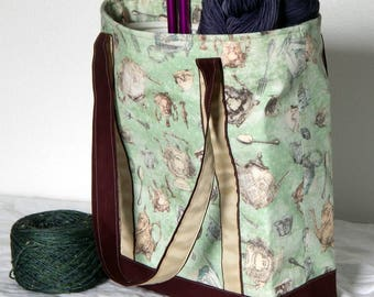 Large zippered tote bag, zippered interior pocket, fully lined, extra long straps, Tea Party, teapots