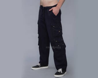 mens cargo pants - Multi pockets - Groove Trousers - military pants - men's wear