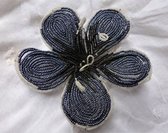 Antique french glass beadwork flower.
