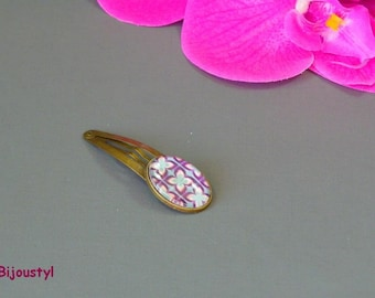 Fancy hair clip * best * Cabochon 18 X 25 mm * blue and purple
