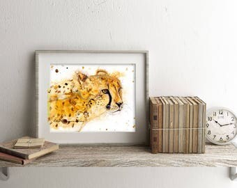 Cheetah art print - cheetah wall decor, safari art, cheetah art, cheetah spirit animal, big cat art, cheetah lover gift, cheetah watercolor