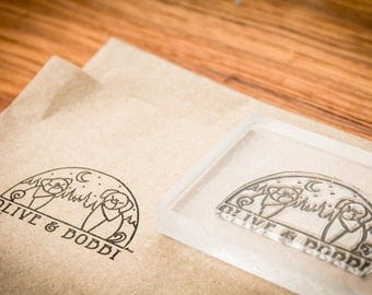 2 Custom Rubber Stamp - 2.5 x 2.5 & 5 x 3 inches