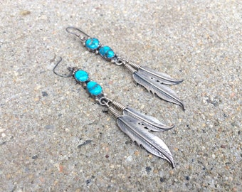 vintage Native American sterling silver turquoise dangle southwestern feather earrings