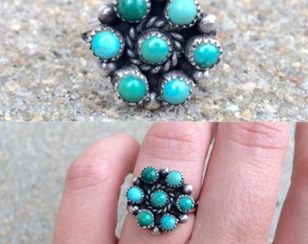 vintage old pawn Native American Zuni sterling silver turquoise cluster southwestern ring size 6.5