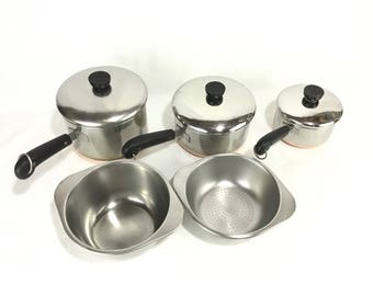 Vintage Revere Ware Sauce Pans * Set of 3 with Double Boiler and Steam Basket Inserts * Process Patent Logo