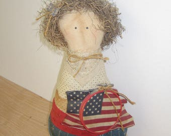 Soft 4th of July Patriotic Doll.  Americana Country Soft Doll with Flag.