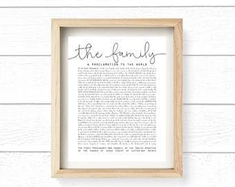 The Family: A Proclamation to the World Cute Wall Print, 11x14, Printable, Digital File