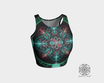 Yoga Crop top , Boho crop top , yoga bra , summer crop top , hippie crop top , green crop top , activewear crop top , Sacred geometry , top