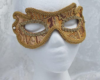 Unisex Gold Brocade Eye Mask,  Gold and Brown Paisley Satin Brocade and Leather Eye Masquerade Mask