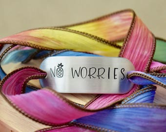 No Worries ~ Hand Stamped Ribbon Wrap Bracelet