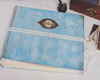 Dusty blue wedding album, traditional style wedding photo album for prints | vintage style scrapbook  |Blue wedding guest book | 12x12 ''