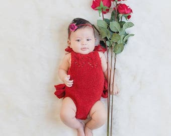 3-6 months props- Newborn romper - Baby girl props - Photo props - Newborn valentine - Valentines day props - Newborn baby photo - Red Props