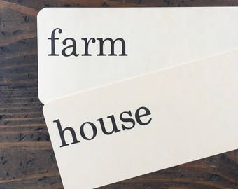 farm house • vintage flash card pair • Dick and Jane flashcards • Allyn and Bacon word cards