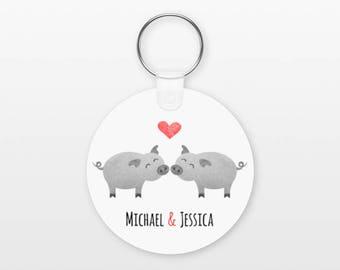 Pig Keychain, Couple Keychain Personalized Keychain, Boyfriend Keychain Girlfriend Keychain, Couple Key Chain, Animal Keychain, Pig Keyring