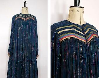 Vintage 60s 70s Phool metallic rainbow Indian Dress - Hippie cotton Indian Dress - Phool Dress - Boho Dress - Vintage India Gauze Dress boho