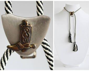 Tassel Wrap Bolo Tie Cowboy Boot Clip Lariat Necklace